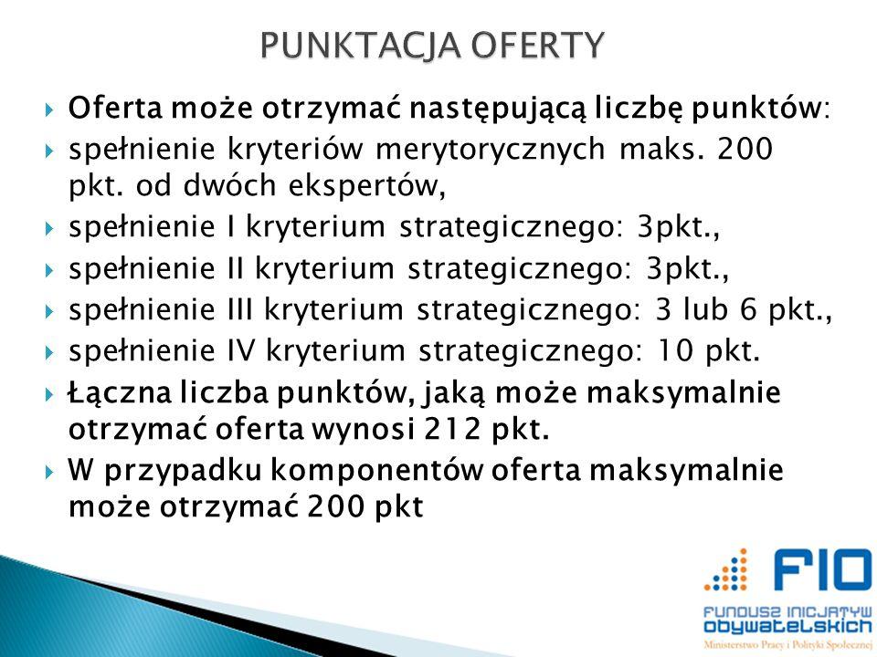 Oferta może otrzymać następującą liczbę punktów: spełnienie kryteriów merytorycznych maks. 200 pkt. od dwóch ekspertów, spełnienie I kryterium strateg