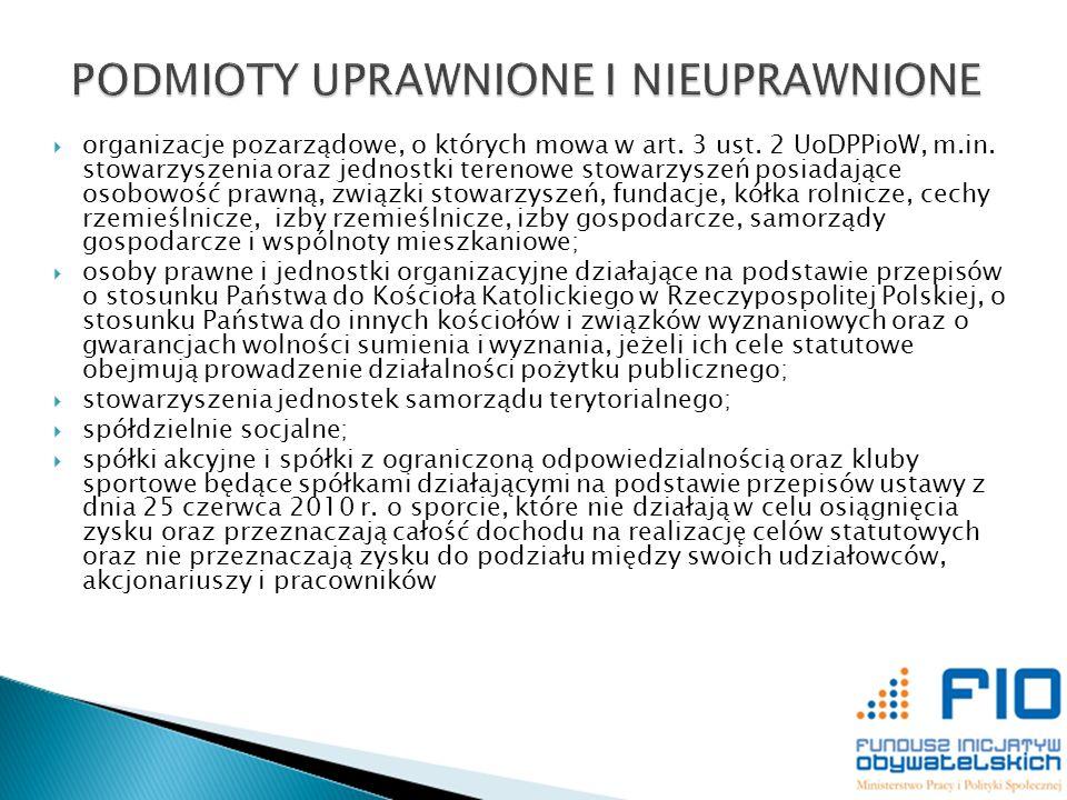 organizacje pozarządowe, o których mowa w art. 3 ust. 2 UoDPPioW, m.in. stowarzyszenia oraz jednostki terenowe stowarzyszeń posiadające osobowość praw