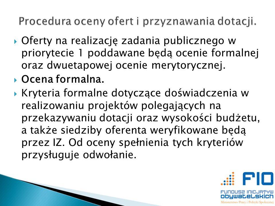 Oferty na realizację zadania publicznego w priorytecie 1 poddawane będą ocenie formalnej oraz dwuetapowej ocenie merytorycznej. Ocena formalna. Kryter