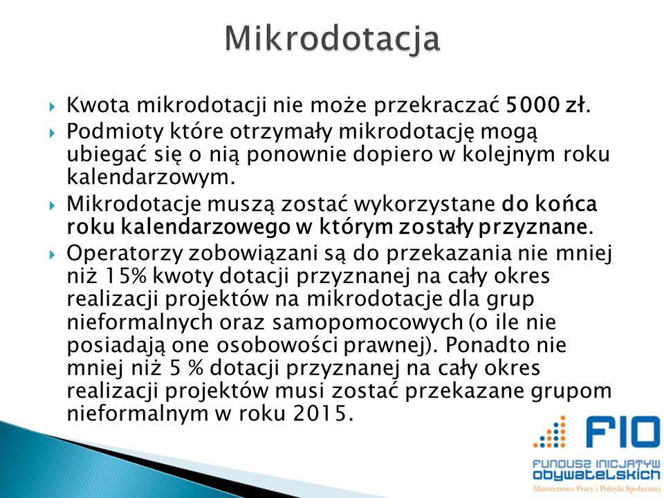 Kwota mikrodotacji nie może przekraczać 5000 zł. Podmioty które otrzymały mikrodotację mogą ubiegać się o nią ponownie dopiero w kolejnym roku kalenda