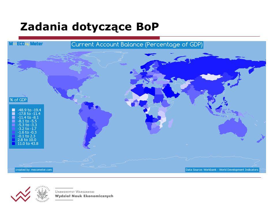 Zadania dotyczące BoP Posługując się danymi dotyczącymi polskiego bilansu płatniczego w okresie 1994-2013, oceń prawdziwość następujących stwierdzeń: