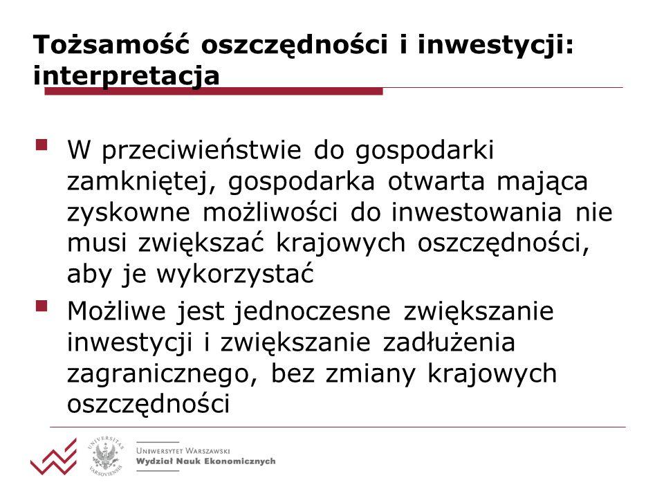 Tożsamość oszczędności i inwestycji: interpretacja W przeciwieństwie do gospodarki zamkniętej, gospodarka otwarta mająca zyskowne możliwości do inwestowania nie musi zwiększać krajowych oszczędności, aby je wykorzystać Możliwe jest jednoczesne zwiększanie inwestycji i zwiększanie zadłużenia zagranicznego, bez zmiany krajowych oszczędności