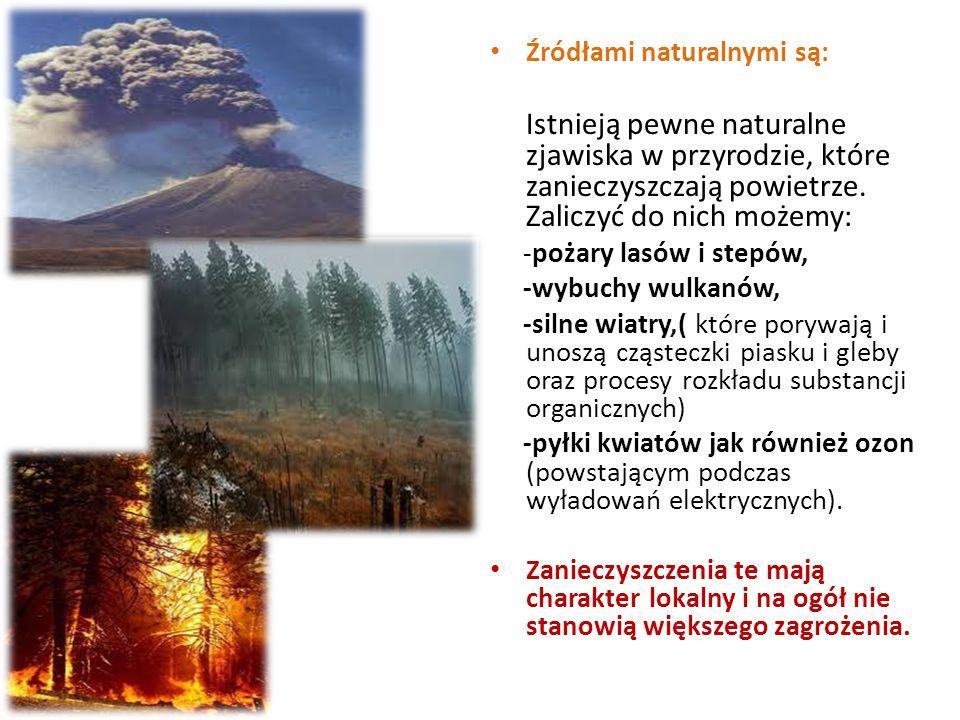 Źródłami naturalnymi są: Istnieją pewne naturalne zjawiska w przyrodzie, które zanieczyszczają powietrze. Zaliczyć do nich możemy: -pożary lasów i ste