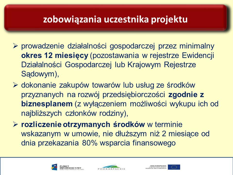 zobowiązania uczestnika projektu prowadzenie działalności gospodarczej przez minimalny okres 12 miesięcy (pozostawania w rejestrze Ewidencji Działalno