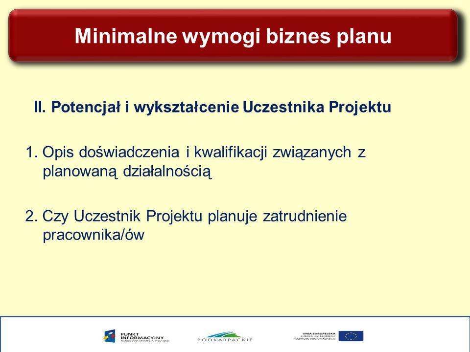 Minimalne wymogi biznes planu II. Potencjał i wykształcenie Uczestnika Projektu 1. Opis doświadczenia i kwalifikacji związanych z planowaną działalnoś