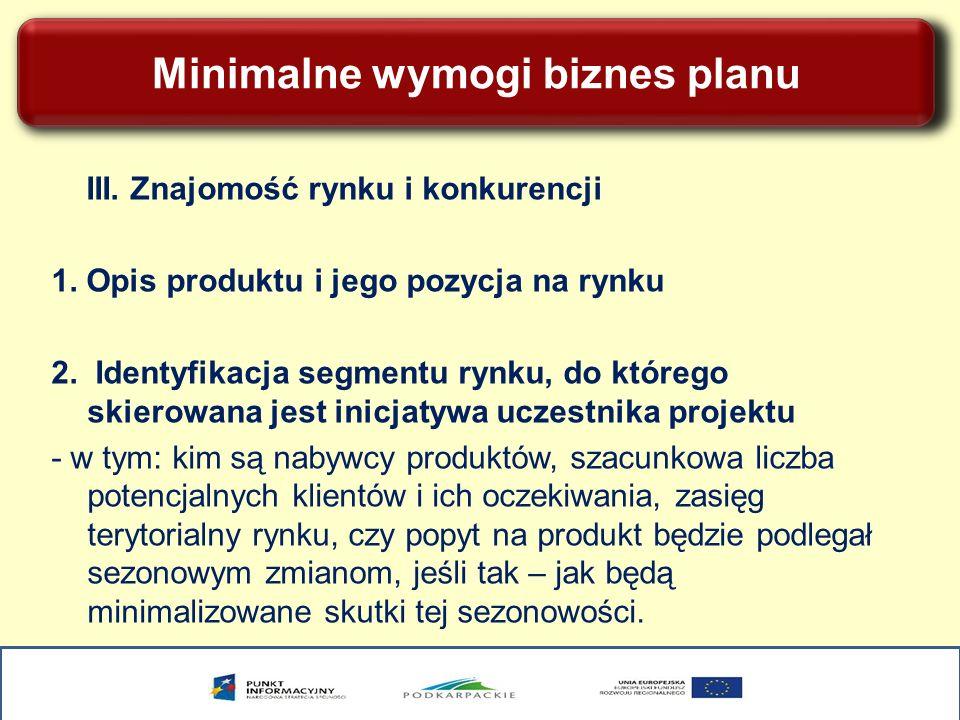 Minimalne wymogi biznes planu III. Znajomość rynku i konkurencji 1. Opis produktu i jego pozycja na rynku 2. Identyfikacja segmentu rynku, do którego