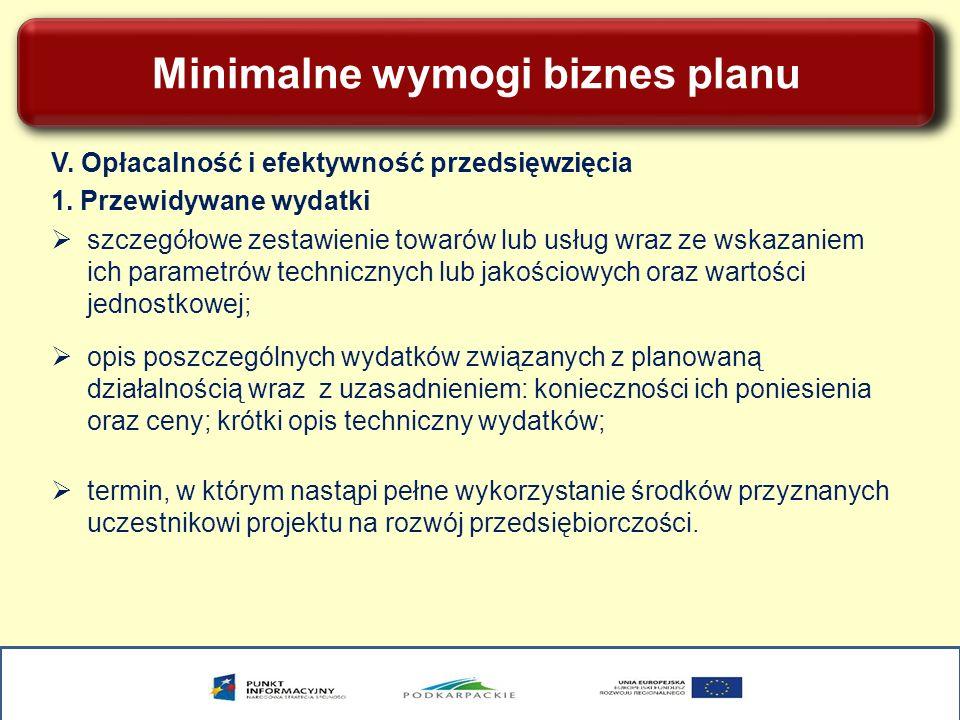 Minimalne wymogi biznes planu V. Opłacalność i efektywność przedsięwzięcia 1. Przewidywane wydatki szczegółowe zestawienie towarów lub usług wraz ze w