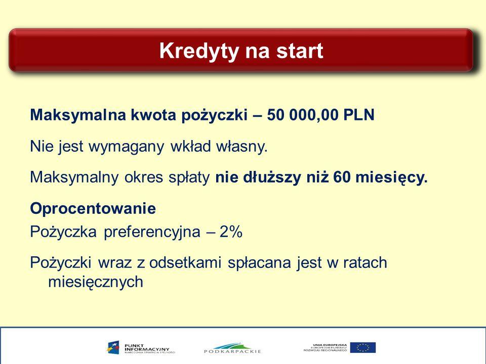 Kredyty na start Maksymalna kwota pożyczki – 50 000,00 PLN Nie jest wymagany wkład własny. Maksymalny okres spłaty nie dłuższy niż 60 miesięcy. Oproce
