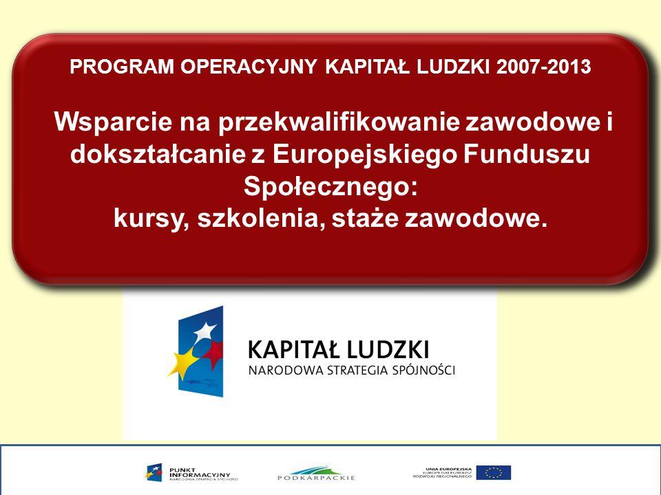 PROGRAM OPERACYJNY KAPITAŁ LUDZKI 2007-2013 Wsparcie na przekwalifikowanie zawodowe i dokształcanie z Europejskiego Funduszu Społecznego: kursy, szkol