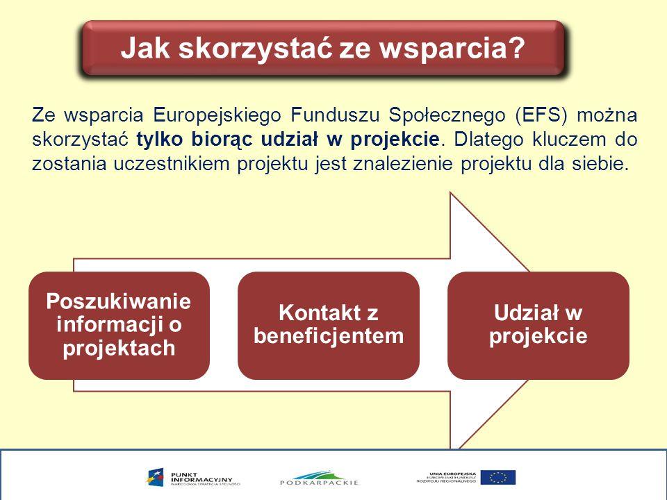 Jak skorzystać ze wsparcia? Ze wsparcia Europejskiego Funduszu Społecznego (EFS) można skorzystać tylko biorąc udział w projekcie. Dlatego kluczem do