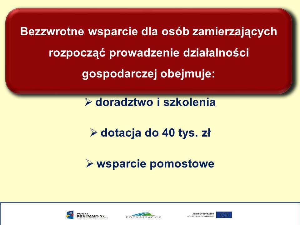 Bezzwrotne wsparcie dla osób zamierzających rozpocząć prowadzenie działalności gospodarczej obejmuje: doradztwo i szkolenia dotacja do 40 tys. zł wspa