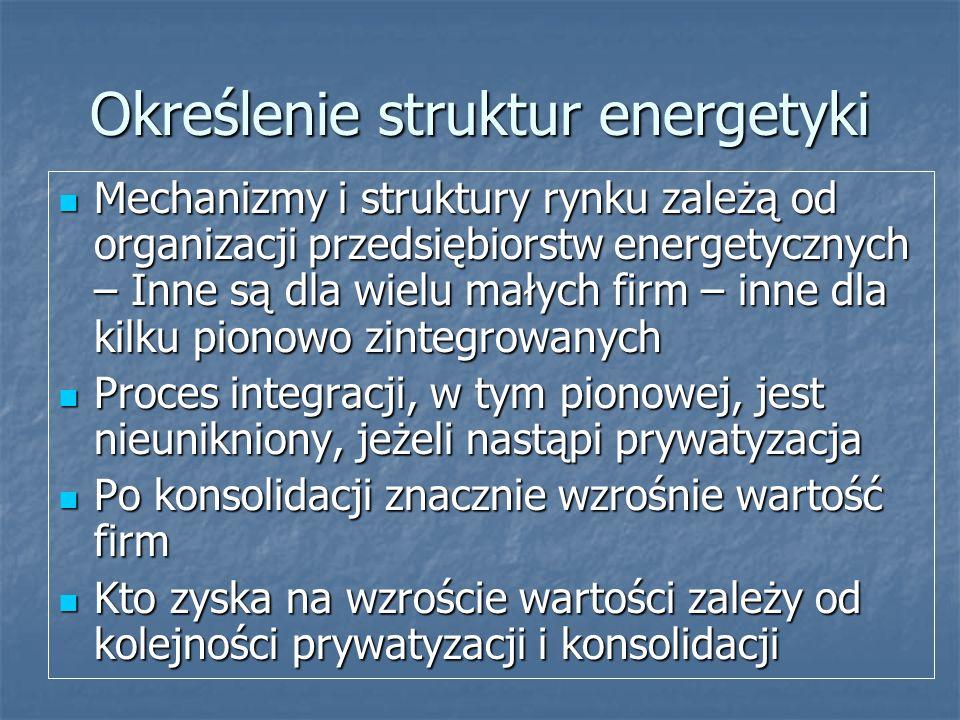 Określenie struktur energetyki Mechanizmy i struktury rynku zależą od organizacji przedsiębiorstw energetycznych – Inne są dla wielu małych firm – inn