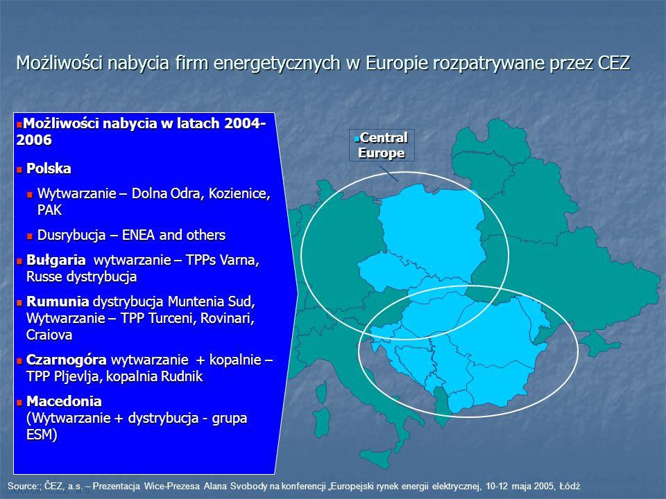 Central Europe Central Europe Możliwości nabycia firm energetycznych w Europie rozpatrywane przez CEZ Możliwości nabycia w latach 2004- 2006 Możliwości nabycia w latach 2004- 2006 Polska Polska Wytwarzanie – Dolna Odra, Kozienice, PAK Wytwarzanie – Dolna Odra, Kozienice, PAK Dusrybucja – ENEA and others Dusrybucja – ENEA and others Bułgaria wytwarzanie – TPPs Varna, Russe dystrybucja Bułgaria wytwarzanie – TPPs Varna, Russe dystrybucja Rumunia dystrybucja Muntenia Sud, Wytwarzanie – TPP Turceni, Rovinari, Craiova Rumunia dystrybucja Muntenia Sud, Wytwarzanie – TPP Turceni, Rovinari, Craiova Czarnogóra wytwarzanie + kopalnie – TPP Pljevlja, kopalnia Rudnik Czarnogóra wytwarzanie + kopalnie – TPP Pljevlja, kopalnia Rudnik Macedonia (Wytwarzanie + dystrybucja - grupa ESM) Macedonia (Wytwarzanie + dystrybucja - grupa ESM) Source: ČEZ, a.s.