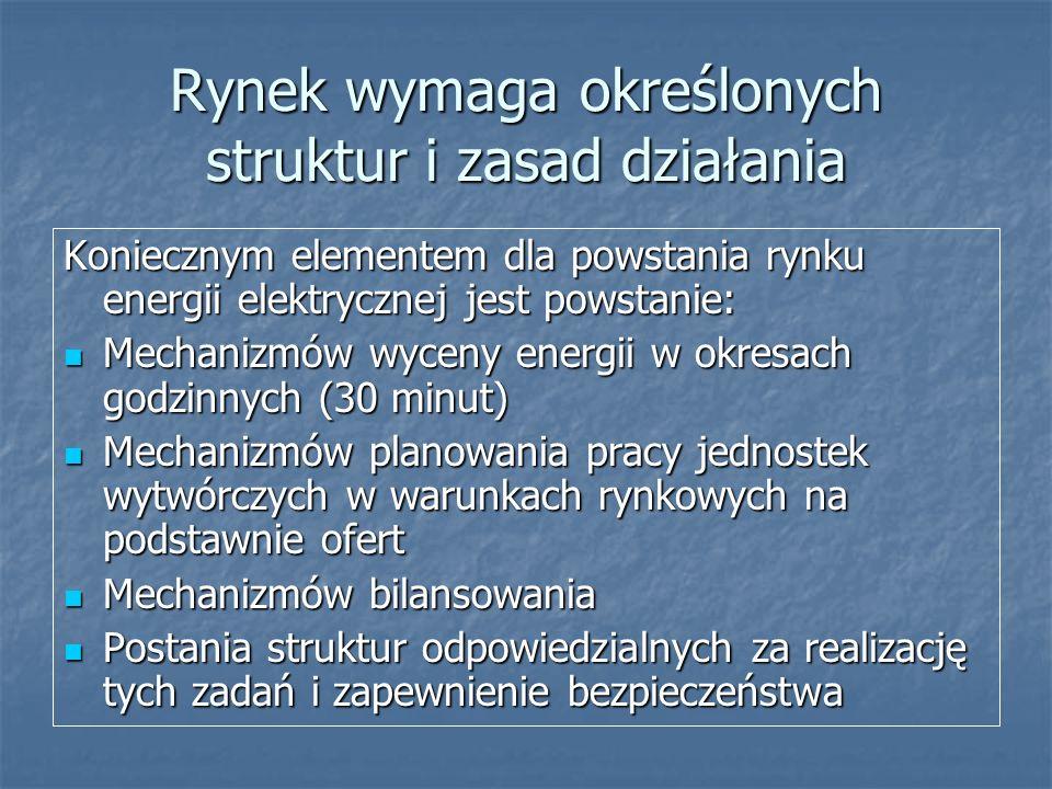 Rynek wymaga określonych struktur i zasad działania Koniecznym elementem dla powstania rynku energii elektrycznej jest powstanie: Mechanizmów wyceny e