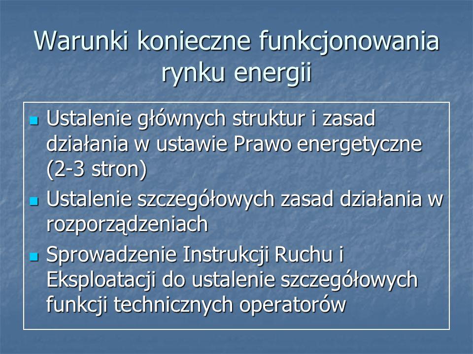 Warunki konieczne funkcjonowania rynku energii Ustalenie głównych struktur i zasad działania w ustawie Prawo energetyczne (2-3 stron) Ustalenie główny