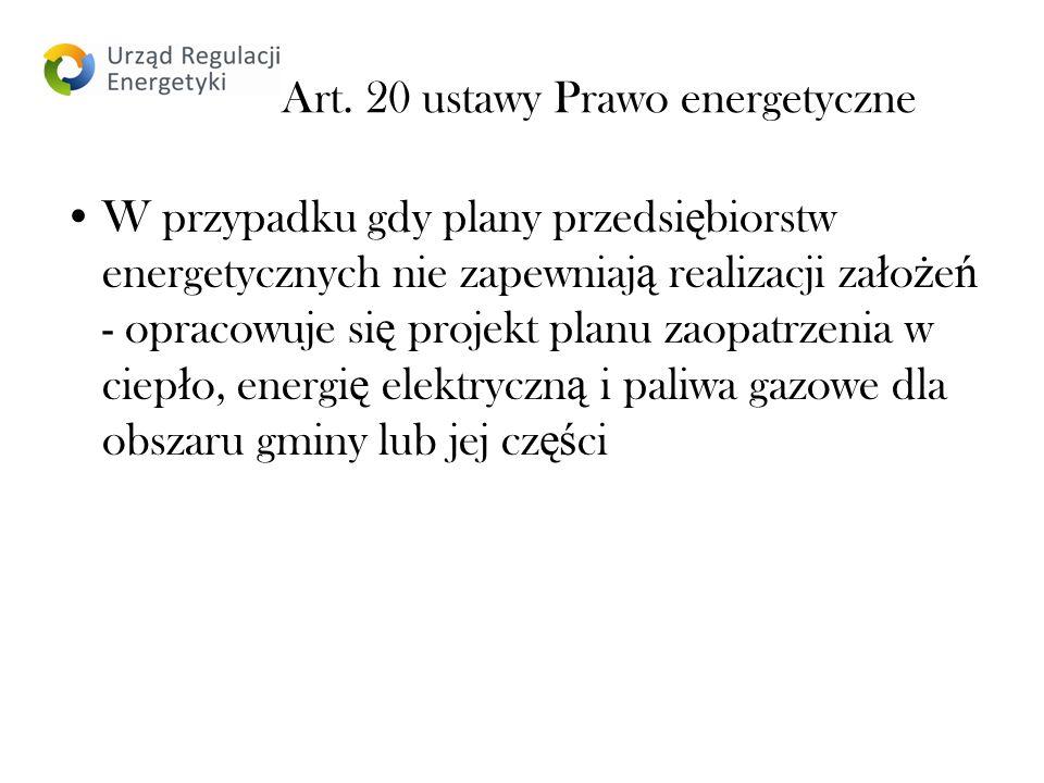 Art. 20 ustawy Prawo energetyczne W przypadku gdy plany przedsi ę biorstw energetycznych nie zapewniaj ą realizacji za ł o ż e ń - opracowuje si ę pro