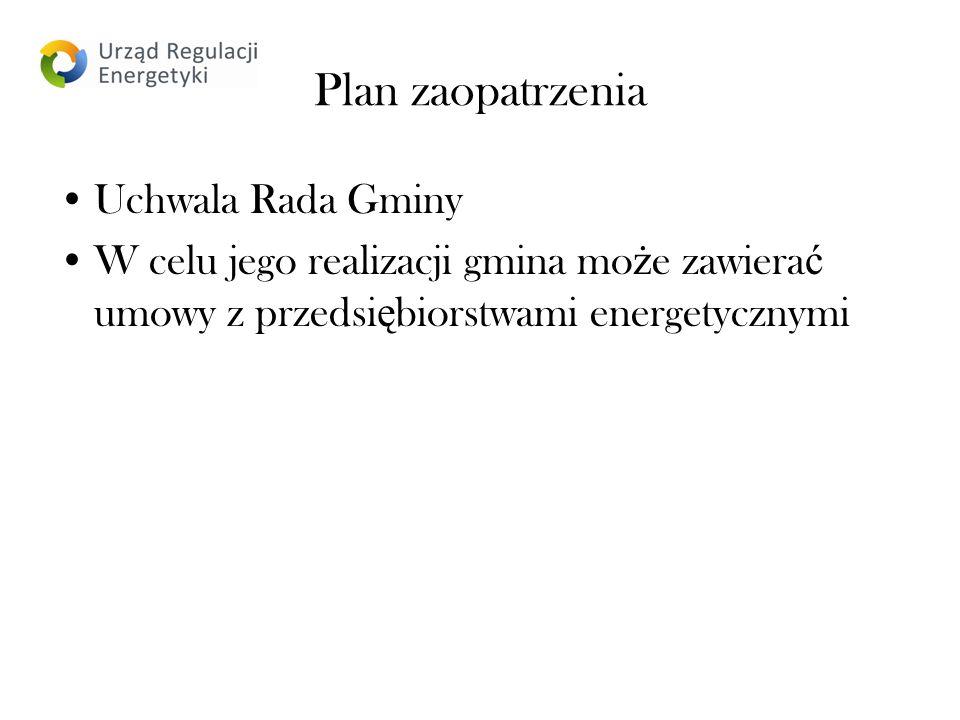 Plan zaopatrzenia Uchwala Rada Gminy W celu jego realizacji gmina mo ż e zawiera ć umowy z przedsi ę biorstwami energetycznymi