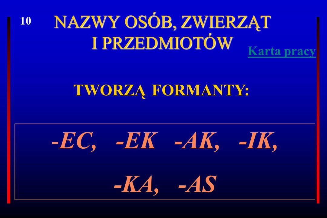 A.NAZWY NOSICIELI CECH FORMANT -EC ĆWICZENIE 5.