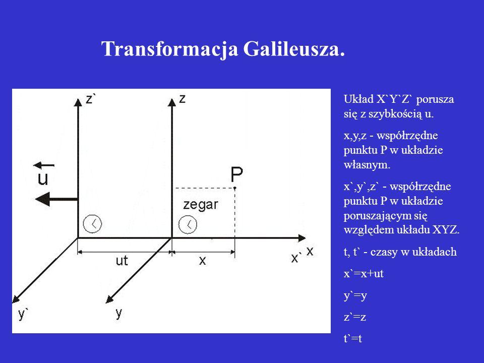 Układ X`Y`Z` porusza się z szybkością u. x,y,z - współrzędne punktu P w układzie własnym. x`,y`,z` - współrzędne punktu P w układzie poruszającym się
