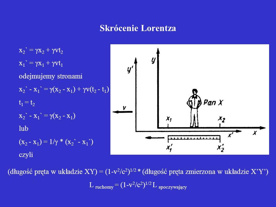 Skrócenie Lorentza x 2 ` = x 2 + vt 2 x 1 ` = x 1 + vt 1 odejmujemy stronami x 2 ` - x 1 ` = (x 2 - x 1 ) + v(t 2 - t 1 ) t 1 = t 2 x 2 ` - x 1 ` = (x