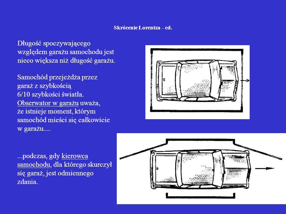 Skrócenie Lorentza - cd. Samochód przejeżdża przez garaż z szybkością 6/10 szybkości światła. Obserwator w garażu uważa, że istnieje moment, którym sa