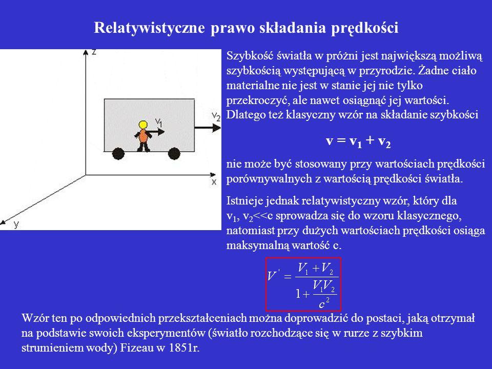 Relatywistyczne prawo składania prędkości Szybkość światła w próżni jest największą możliwą szybkością występującą w przyrodzie. Żadne ciało materialn