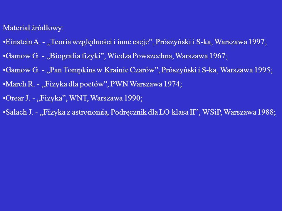 Materiał źródłowy: Einstein A. - Teoria względności i inne eseje, Prószyński i S-ka, Warszawa 1997; Gamow G. - Biografia fizyki, Wiedza Powszechna, Wa