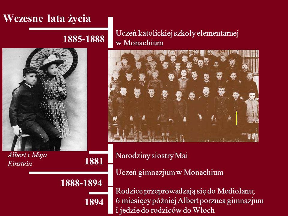 1885-1888 Uczeń katolickiej szkoły elementarnej w Monachium Wczesne lata życia 1881 Narodziny siostry Mai 1888-1894 Uczeń gimnazjum w Monachium 1894 R