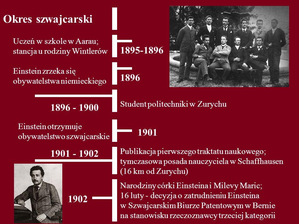 Okres szwajcarski 1895-1896 Uczeń w szkole w Aarau; stancja u rodziny Wintlerów 1896 Einstein zrzeka się obywatelstwa niemieckiego 1896 - 1900 Student