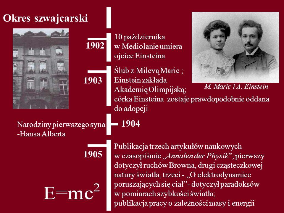 Okres szwajcarski 1903 10 października w Mediolanie umiera ojciec Einsteina 1902 Narodziny pierwszego syna -Hansa Alberta 1904 1905 Publikacja trzech