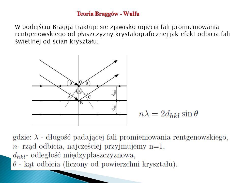W podejściu Bragga traktuje sie zjawisko ugięcia fali promieniowania rentgenowskiego od płaszczyzny krystalograficznej jak efekt odbicia fali świetlnej od ścian kryształu.