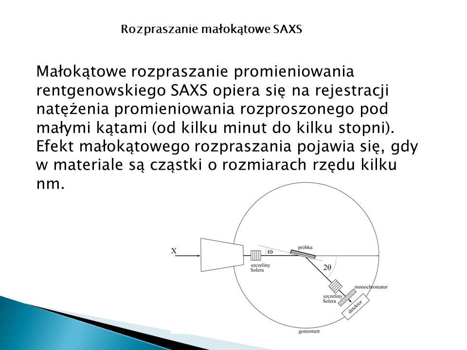 Rozpraszanie małokątowe SAXS Małokątowe rozpraszanie promieniowania rentgenowskiego SAXS opiera się na rejestracji natężenia promieniowania rozproszonego pod małymi kątami (od kilku minut do kilku stopni).