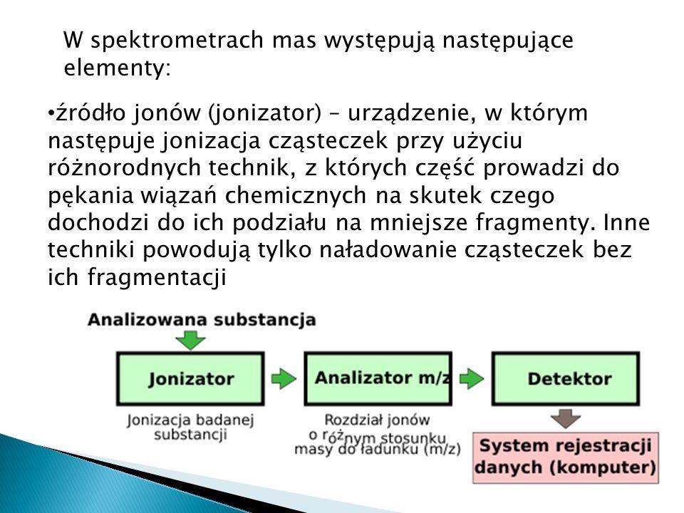 W spektrometrach mas występują następujące elementy: źródło jonów (jonizator) – urządzenie, w którym następuje jonizacja cząsteczek przy użyciu różnorodnych technik, z których część prowadzi do pękania wiązań chemicznych na skutek czego dochodzi do ich podziału na mniejsze fragmenty.