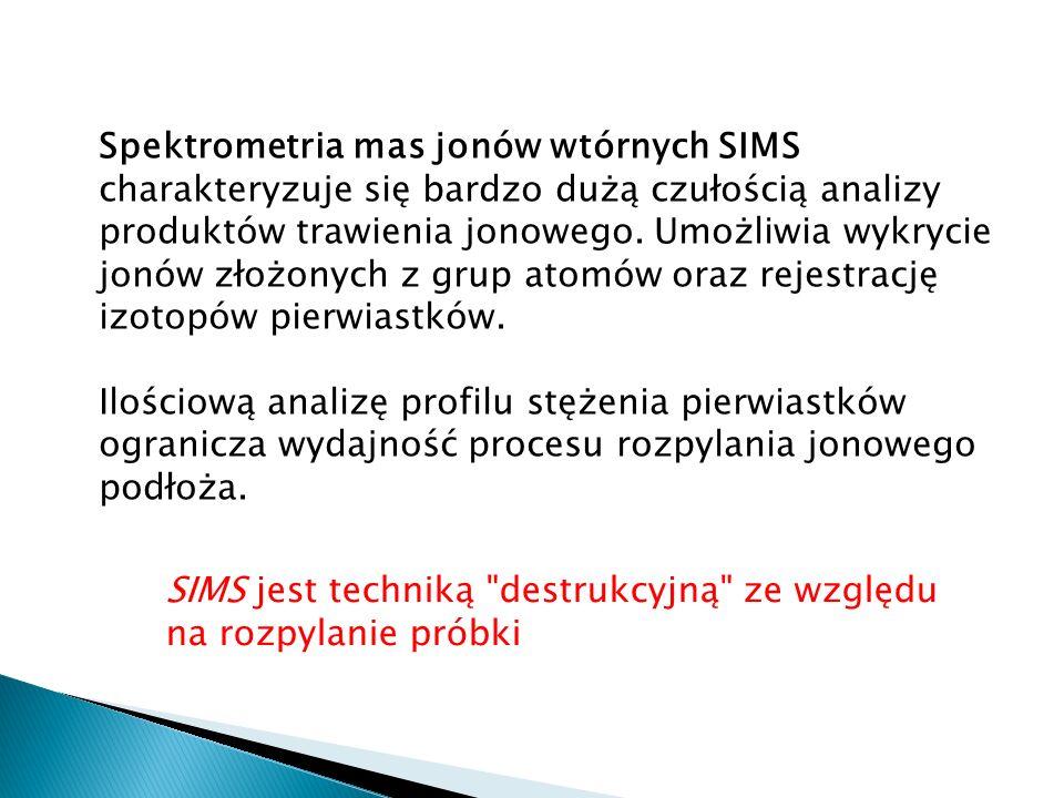 Spektrometria mas jonów wtórnych SIMS charakteryzuje się bardzo dużą czułością analizy produktów trawienia jonowego. Umożliwia wykrycie jonów złożonyc