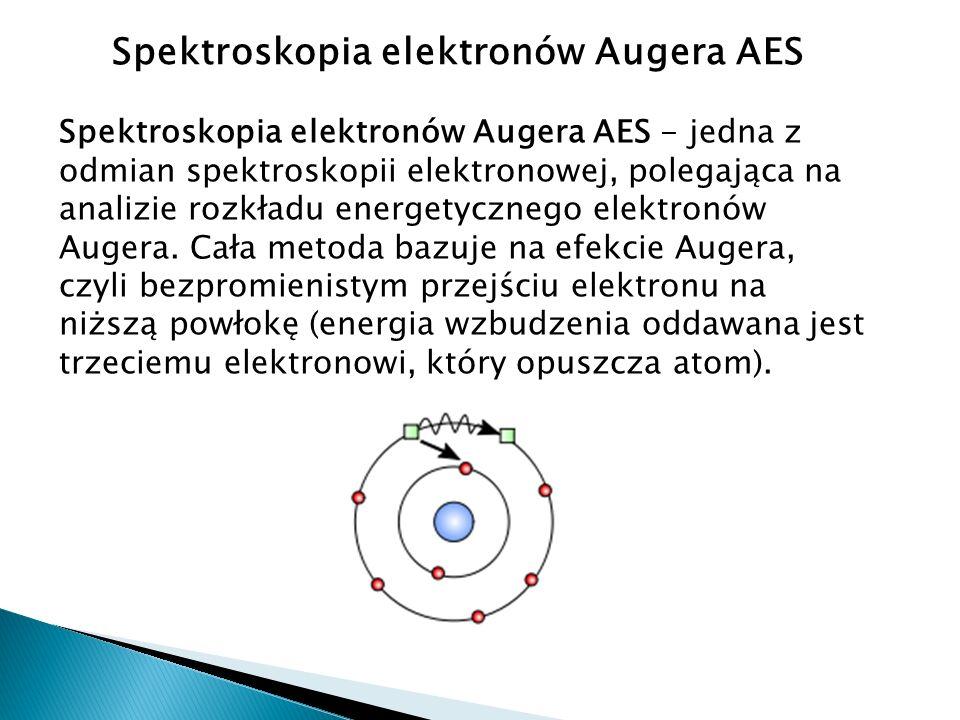 Spektroskopia elektronów Augera AES Spektroskopia elektronów Augera AES - jedna z odmian spektroskopii elektronowej, polegająca na analizie rozkładu energetycznego elektronów Augera.