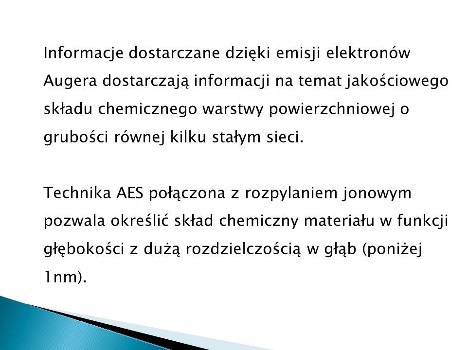 Informacje dostarczane dzięki emisji elektronów Augera dostarczają informacji na temat jakościowego składu chemicznego warstwy powierzchniowej o grubo