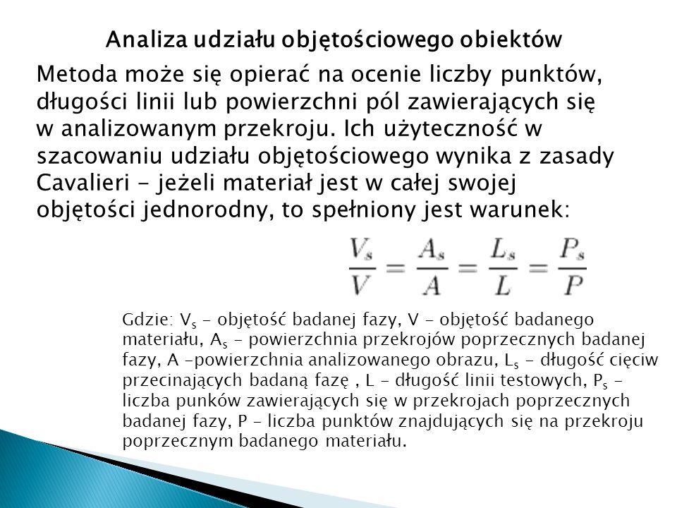 Analiza udziału objętościowego obiektów Metoda może się opierać na ocenie liczby punktów, długości linii lub powierzchni pól zawierających się w anali