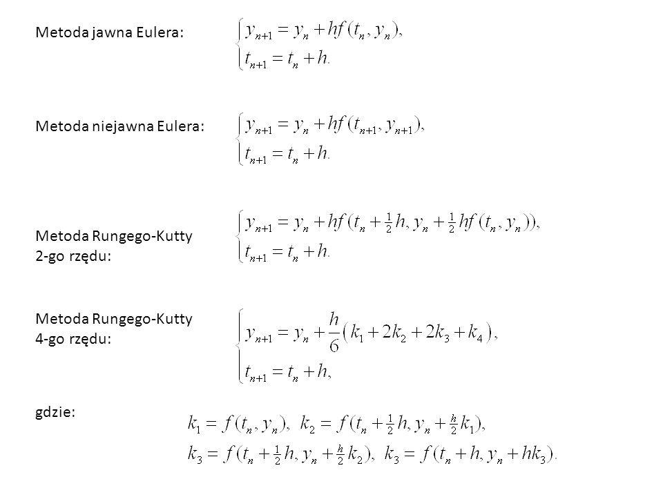 Metoda jawna Eulera: Metoda niejawna Eulera: Metoda Rungego-Kutty 2-go rzędu: Metoda Rungego-Kutty 4-go rzędu: gdzie: