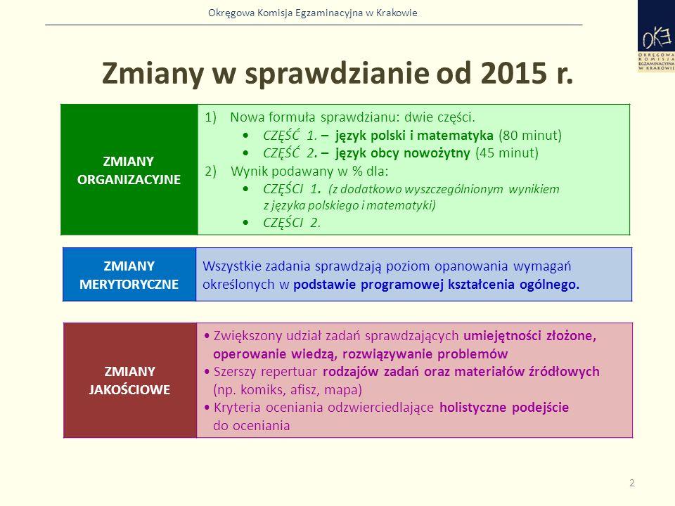 Okręgowa Komisja Egzaminacyjna w Krakowie Zmiany w sprawdzianie od 2015 r. 2 ZMIANY ORGANIZACYJNE 1)Nowa formuła sprawdzianu: dwie części. CZĘŚĆ 1. –
