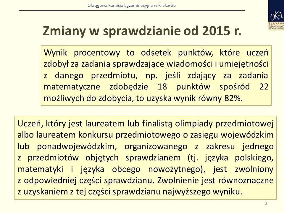 Okręgowa Komisja Egzaminacyjna w Krakowie 3 Wynik procentowy to odsetek punktów, które uczeń zdobył za zadania sprawdzające wiadomości i umiejętności