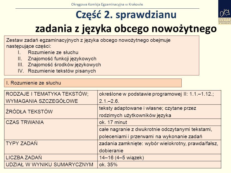 Okręgowa Komisja Egzaminacyjna w Krakowie Część 2. sprawdzianu zadania z języka obcego nowożytnego 31 Zestaw zadań egzaminacyjnych z języka obcego now