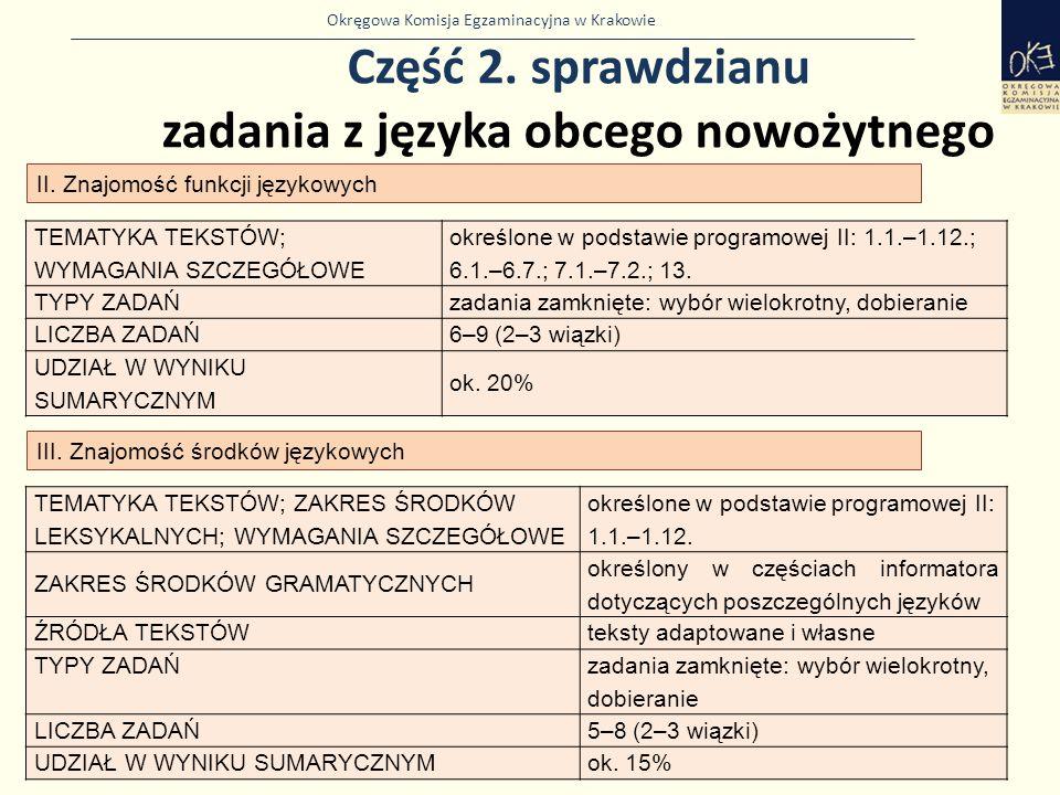 Okręgowa Komisja Egzaminacyjna w Krakowie Część 2. sprawdzianu zadania z języka obcego nowożytnego 32 II. Znajomość funkcji językowych TEMATYKA TEKSTÓ