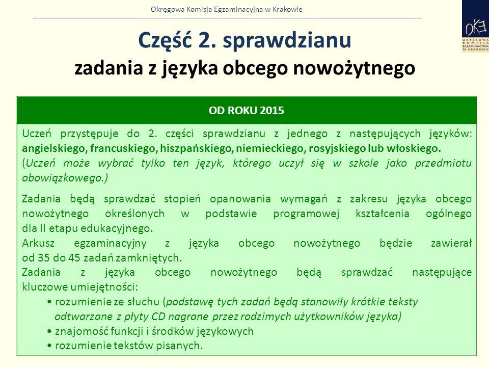 Okręgowa Komisja Egzaminacyjna w Krakowie Część 2. sprawdzianu zadania z języka obcego nowożytnego 5 OD ROKU 2015 Uczeń przystępuje do 2. części spraw