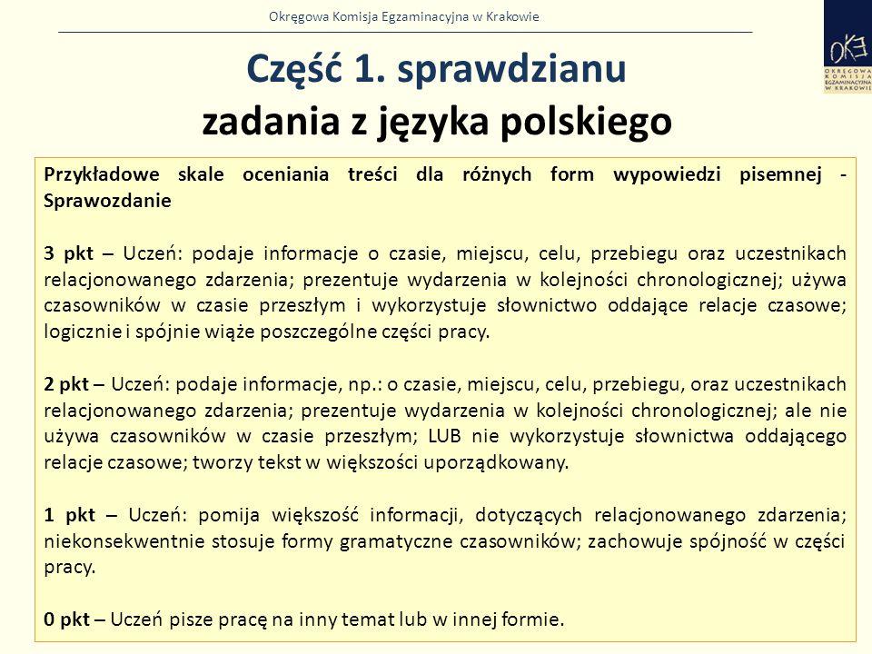 Okręgowa Komisja Egzaminacyjna w Krakowie Część 1. sprawdzianu zadania z języka polskiego 8 Przykładowe skale oceniania treści dla różnych form wypowi