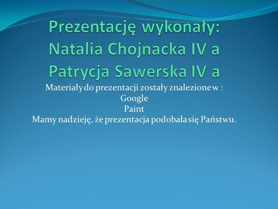 Materiały do prezentacji zostały znalezione w : Google Paint Mamy nadzieję, że prezentacja podobała się Państwu.