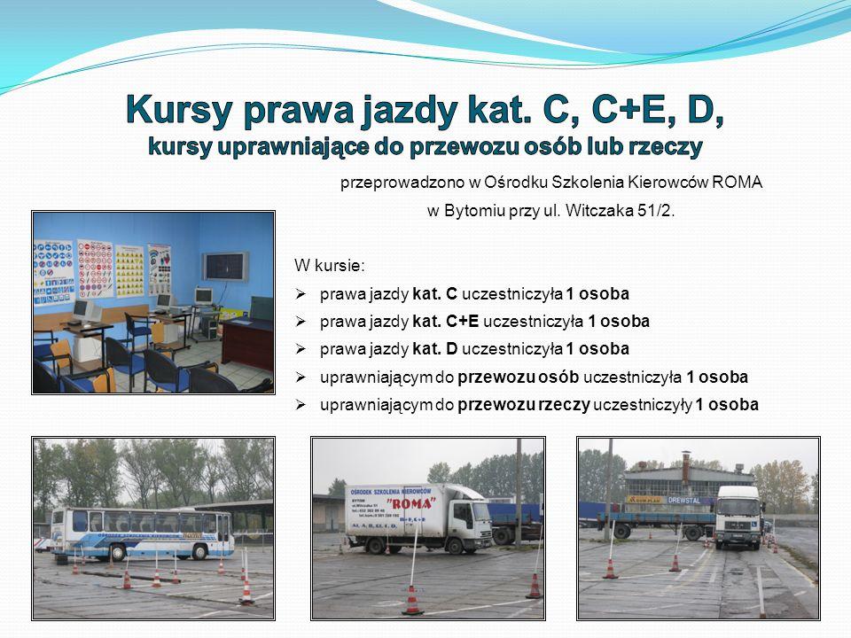 przeprowadzono w Ośrodku Szkolenia Kierowców ROMA w Bytomiu przy ul.