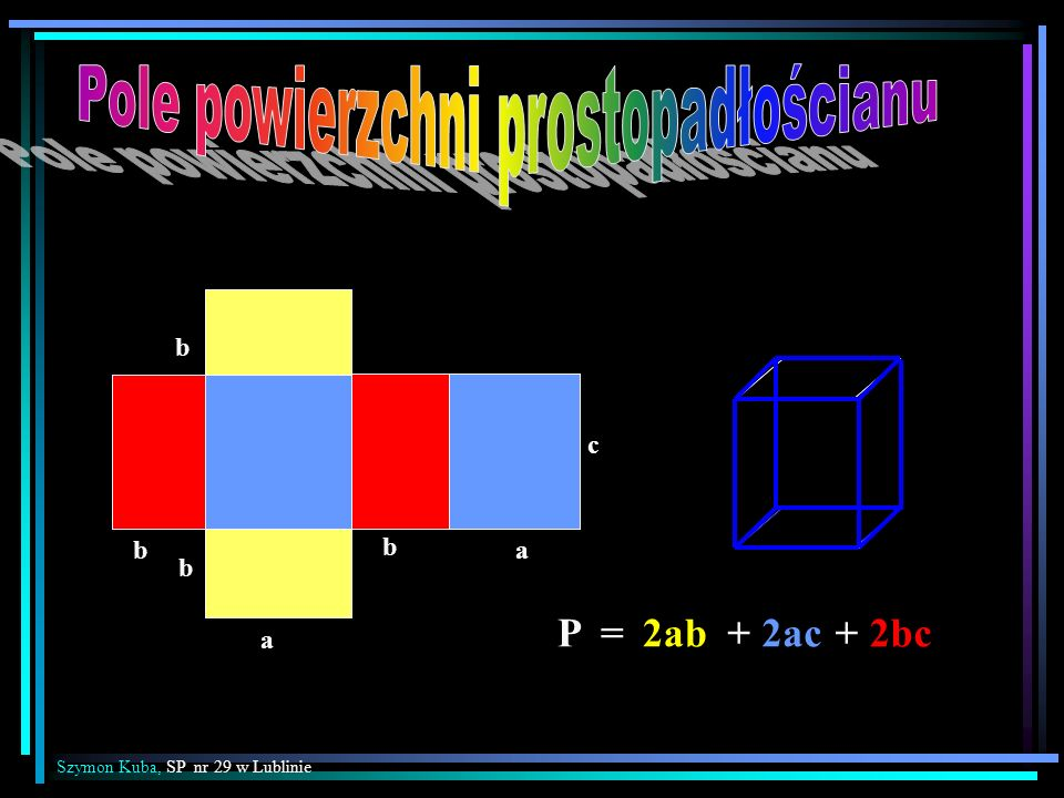 P =2ab+ 2ac+ 2bc b b a b a c b Szymon Kuba, SP nr 29 w Lublinie