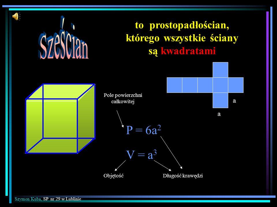 to prostopadłościan, którego wszystkie ściany są kwadratami P = 6a 2 V = a 3 a a Szymon Kuba, SP nr 29 w Lublinie ObjętośćDługość krawędzi Pole powier