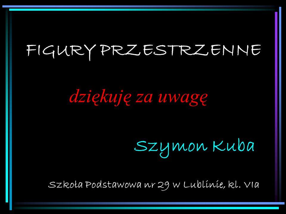 FIGURY PRZESTRZENNE Szkoła Podstawowa nr 29 w Lublinie, kl. VIa Szymon Kuba dziękuję za uwagę