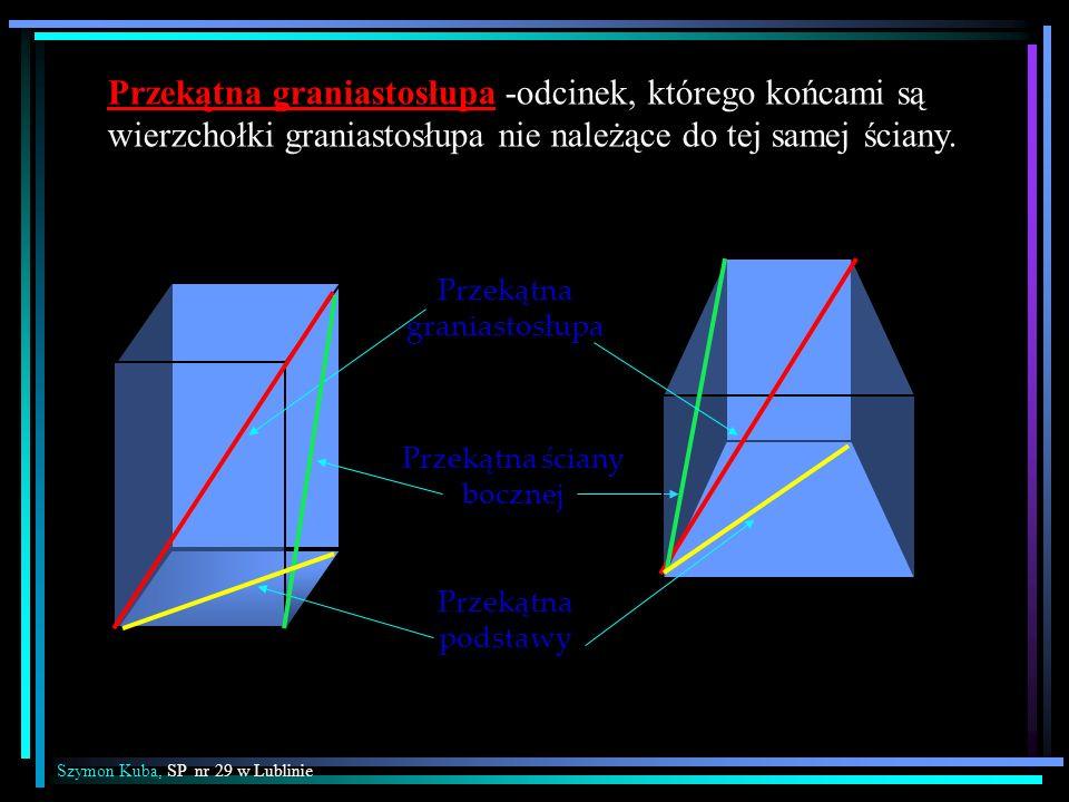 Przekątna graniastosłupa Przekątna ściany bocznej Przekątna podstawy Przekątna graniastosłupa -odcinek, którego końcami są wierzchołki graniastosłupa